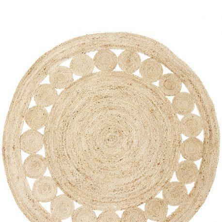 tapis rond en jute 180 cm madam stoltz soie de coton. Black Bedroom Furniture Sets. Home Design Ideas